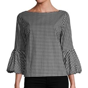 Laundry By Shelli Segal Top Black+White Gingham
